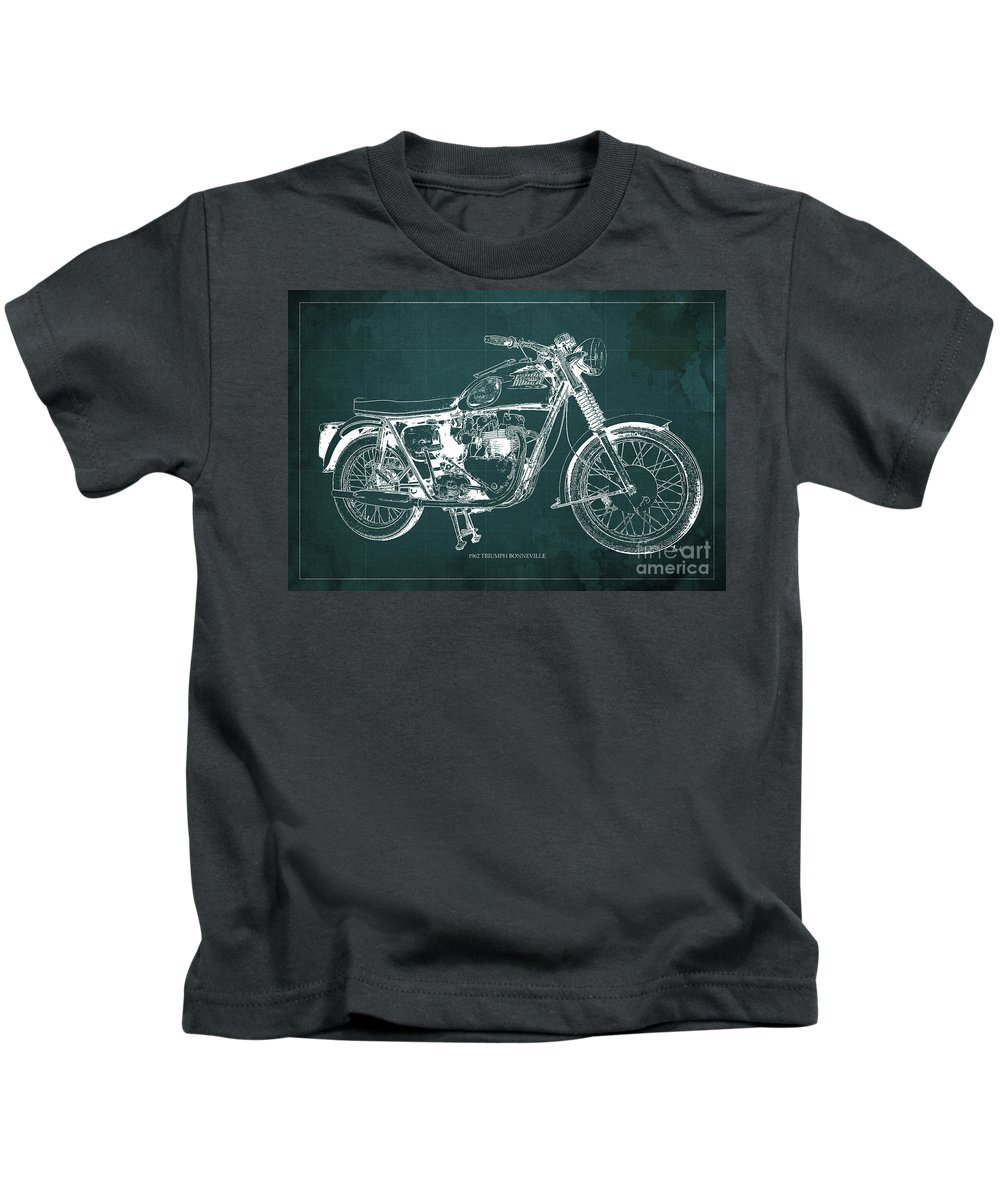 1963 Kids T-Shirt featuring the painting 1963 Triumph Bonneville, Blueprint Green Background by Drawspots Illustrations