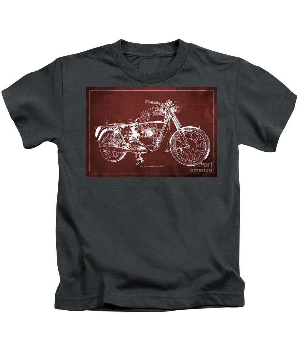 1963 Kids T-Shirt featuring the drawing 1963 Triumph Bonneville, Blueprint Red Background by Drawspots Illustrations