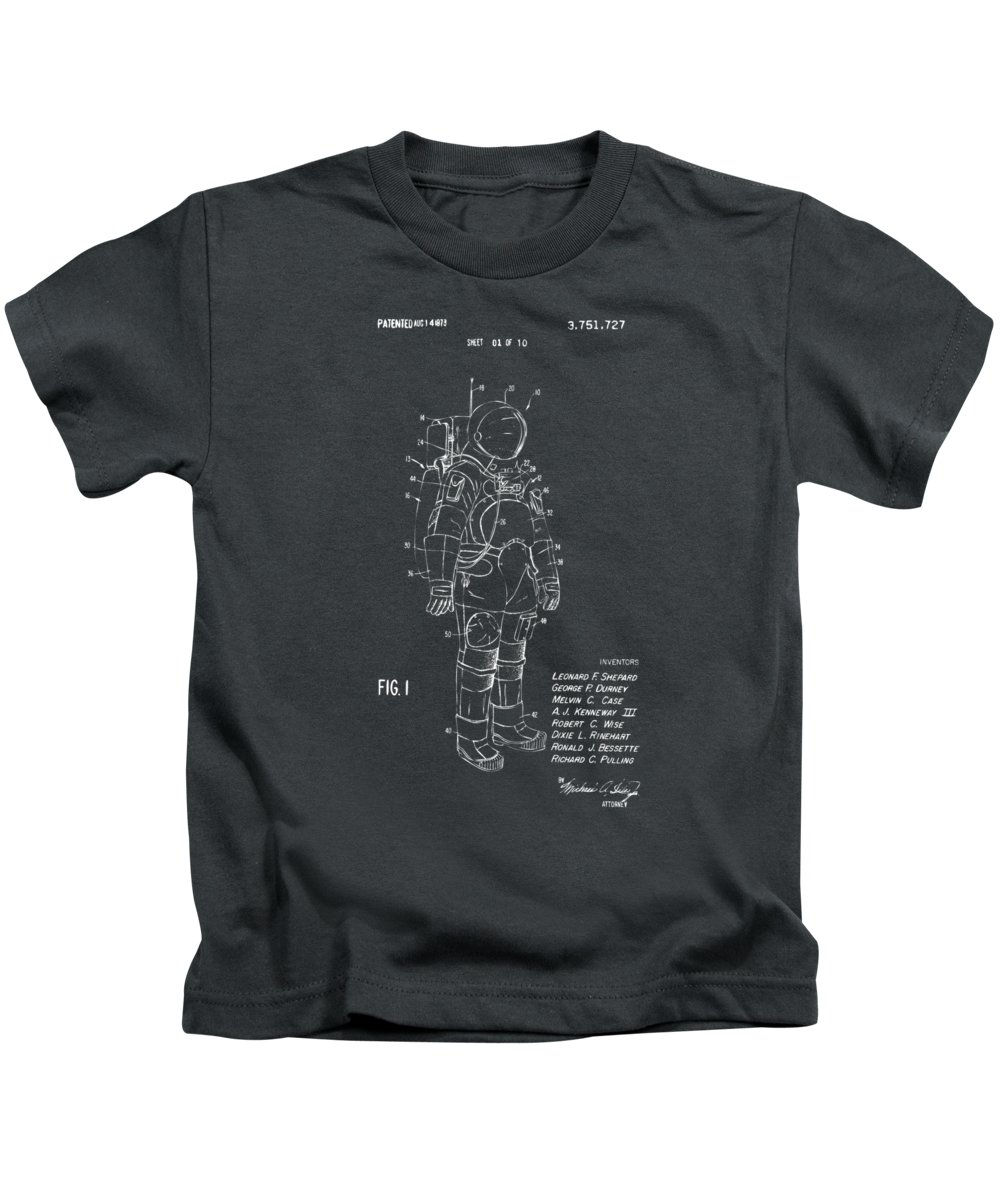 Space Suit Kids T-Shirt featuring the digital art 1973 Space Suit Patent Inventors Artwork - Gray by Nikki Marie Smith
