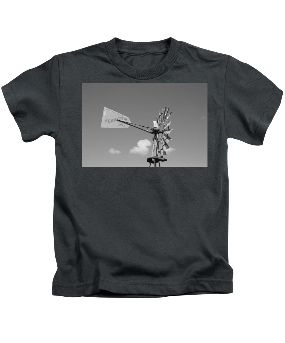 Black And White Kids T-Shirt featuring the photograph Aermotor Windmill by Rob Hans