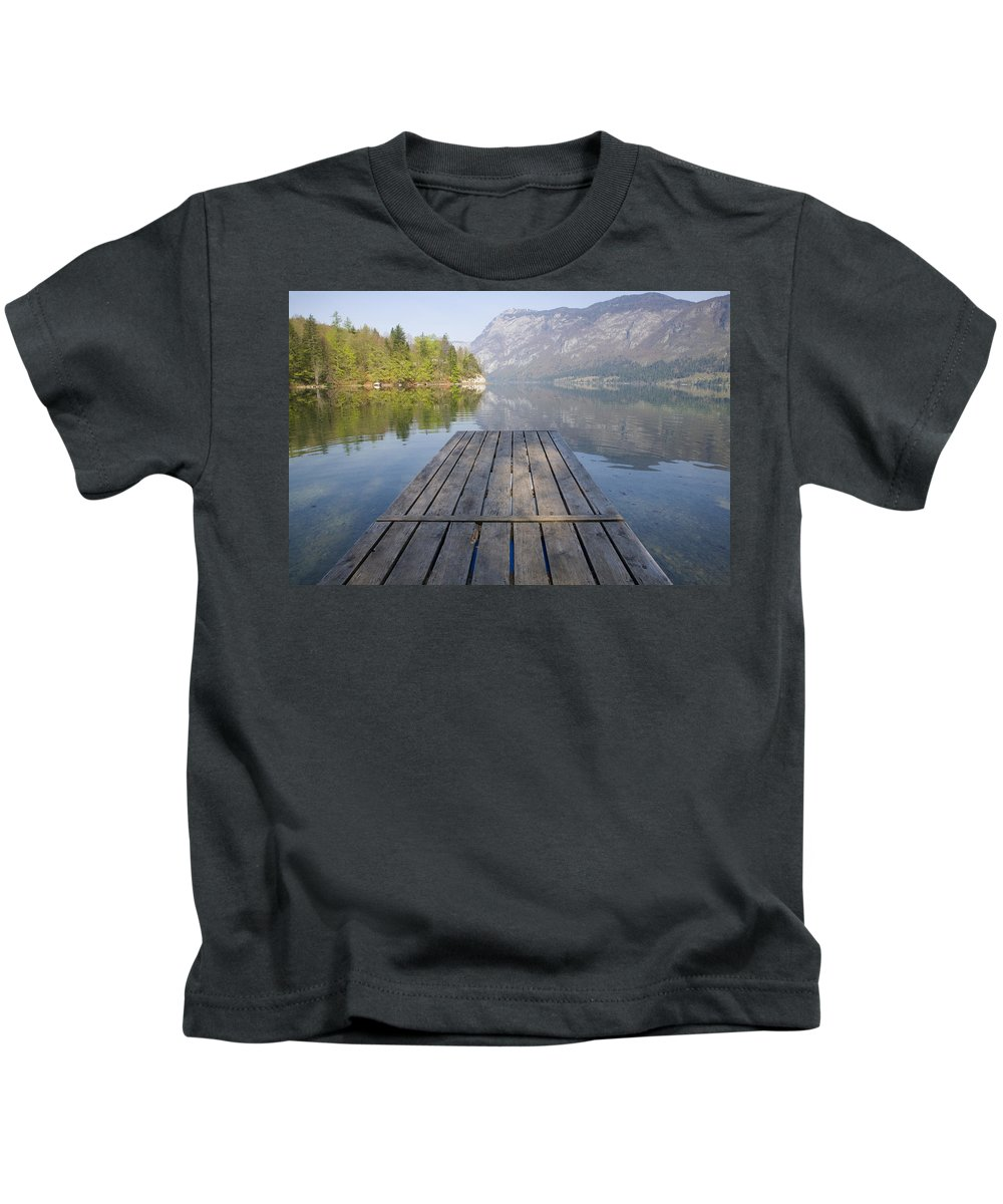 Reflections Kids T-Shirt featuring the photograph Alpine Clarity by Ian Middleton