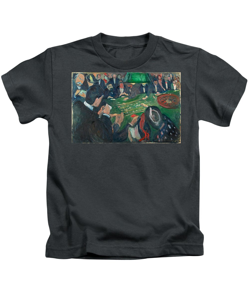 Edvard Munch Kids T-Shirt featuring the painting At The Roulette Table In Monte Carlo by Edvard Munch