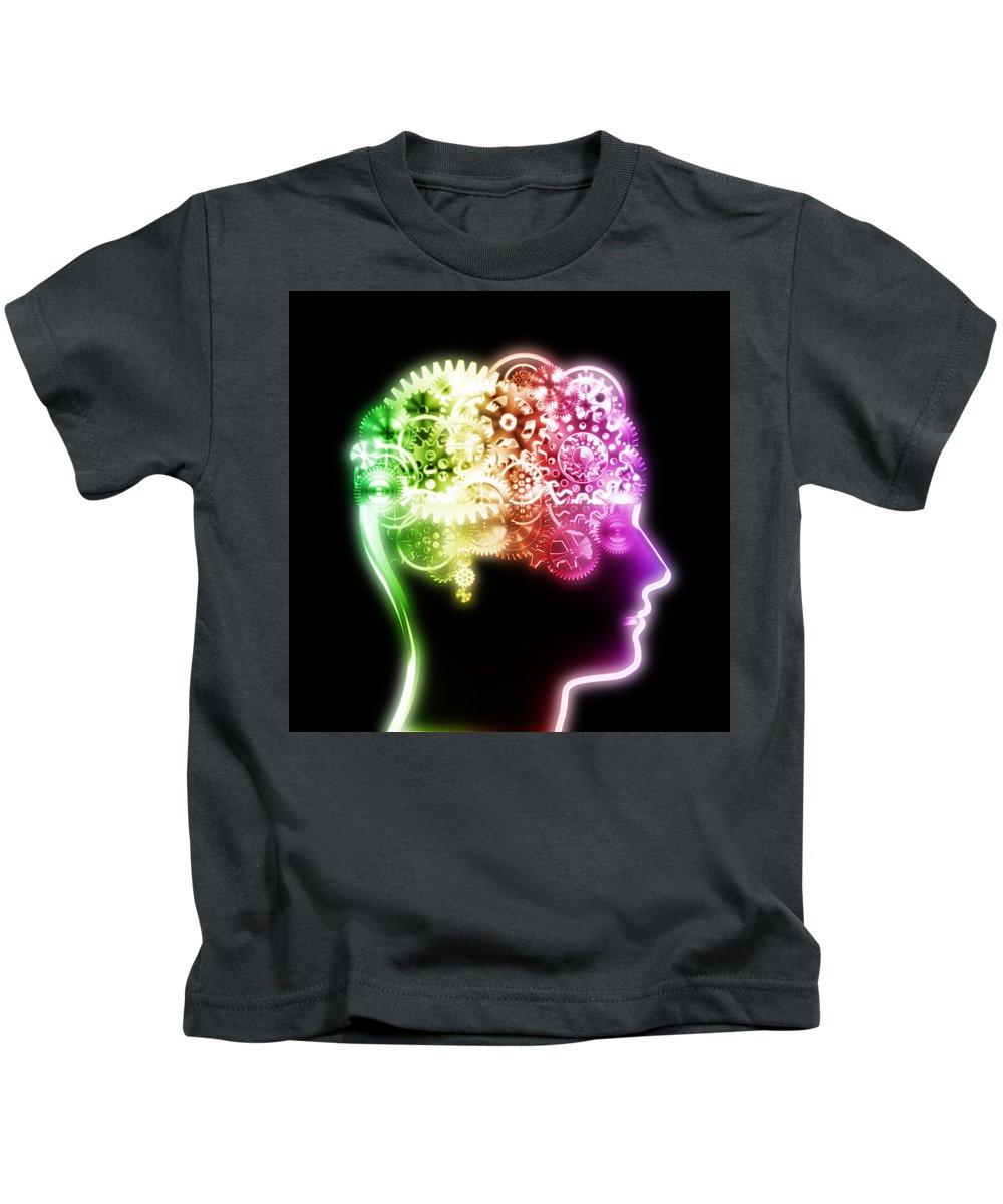 Art Kids T-Shirt featuring the photograph Brain Design By Cogs And Gears by Setsiri Silapasuwanchai
