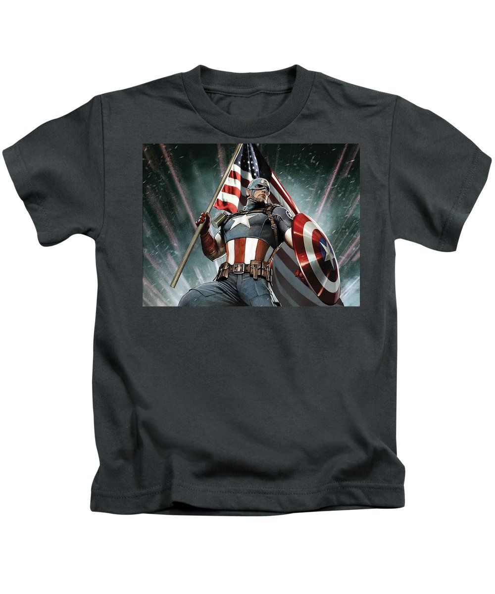 Captain America Kids T-Shirt featuring the digital art Captain America by Dorothy Binder