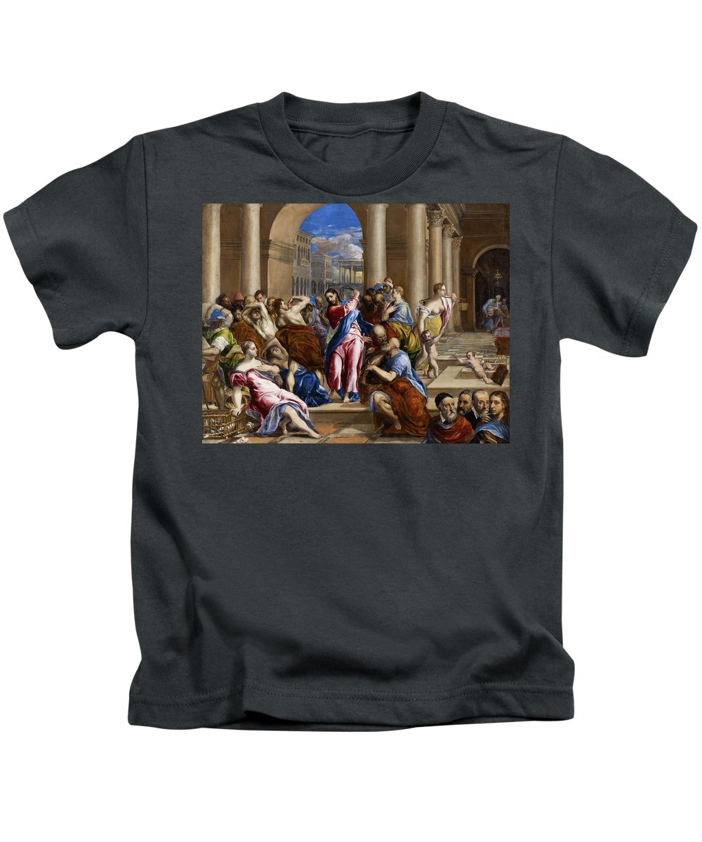 Christ Kids T-Shirt featuring the painting Christ Driving The Money Changers From The Temple by El Greco