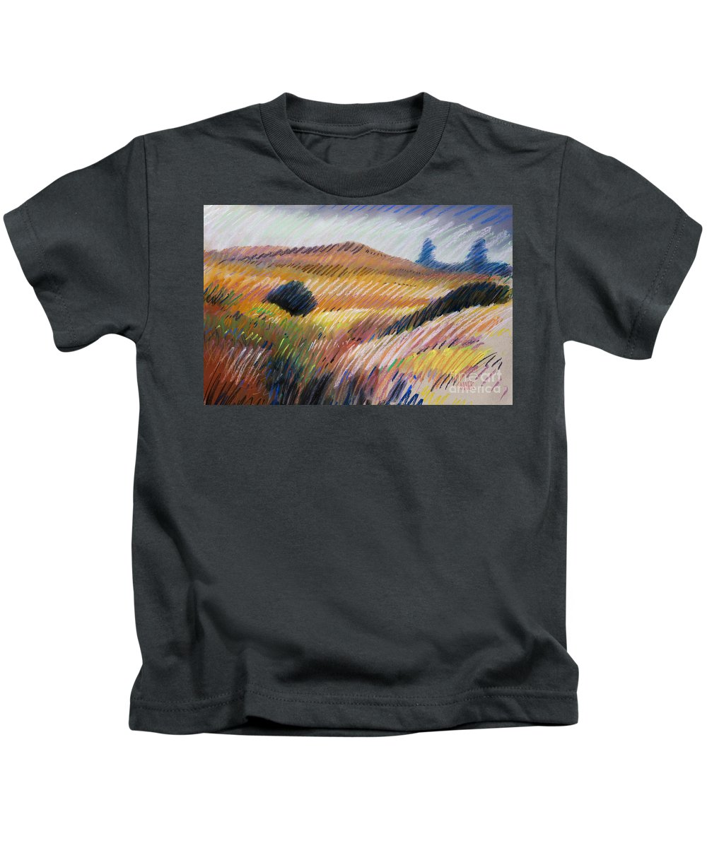 Pastel Kids T-Shirt featuring the drawing Coastal Hills by Donald Maier