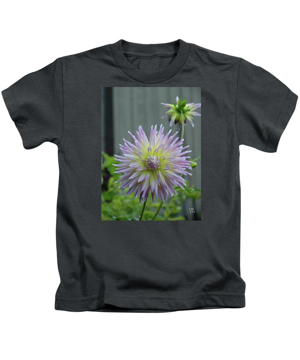 Flower Kids T-Shirt featuring the photograph 2 Dewy Dahlias by Shirley Heyn