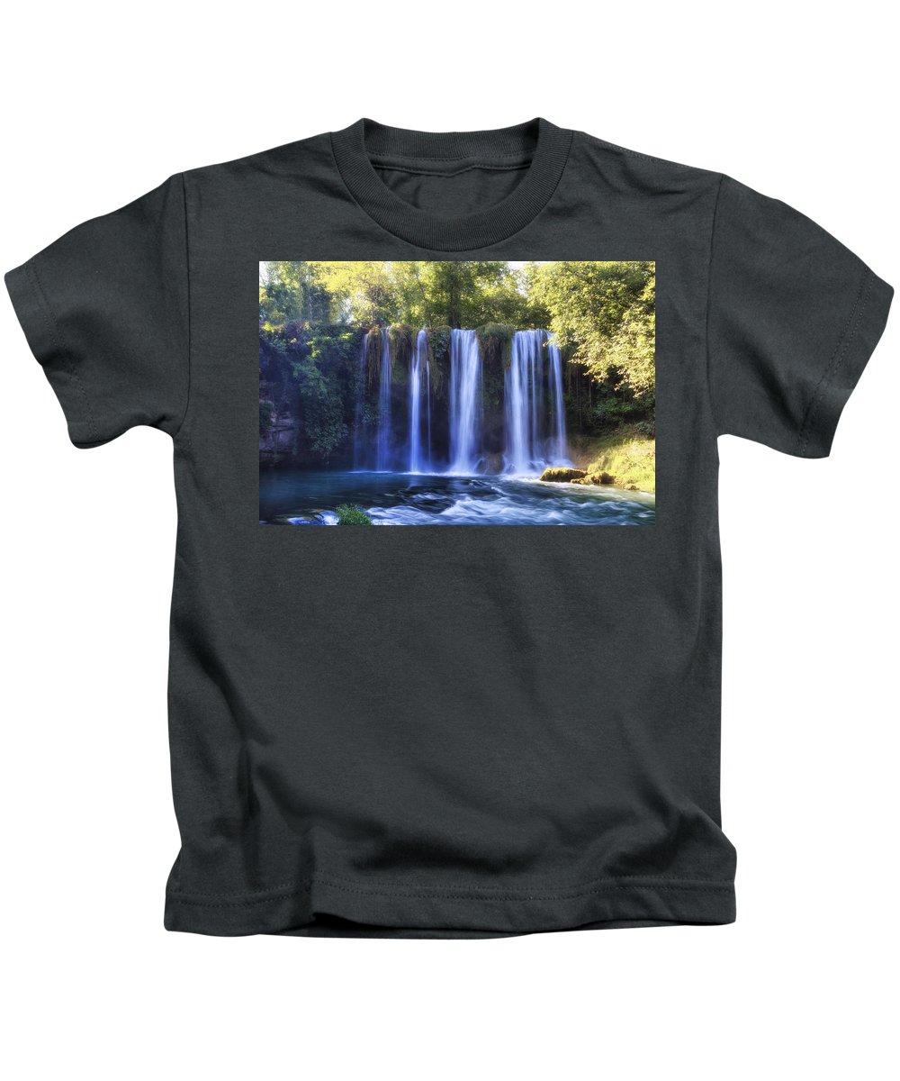 Duden Waterfall Kids T-Shirt featuring the photograph Duden Waterfall - Turkey by Joana Kruse