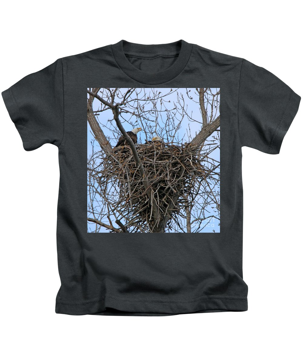 Bald Eagles Kids T-Shirt featuring the photograph 2 Eagles On Nest 3172b by Jack Schultz