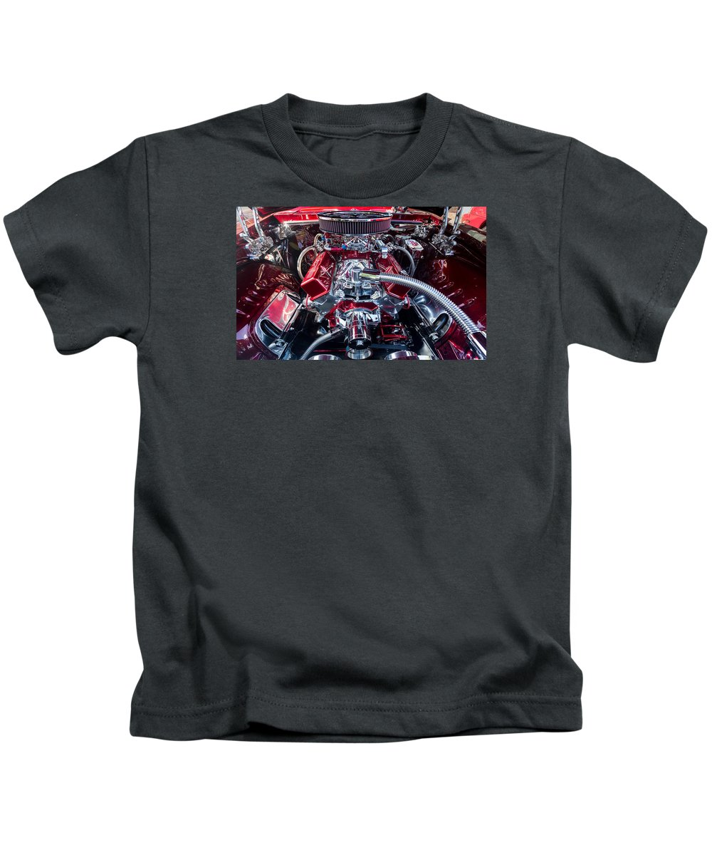 Car Kids T-Shirt featuring the photograph Engine Compartment Of Chromed Camaro by Steven Heap