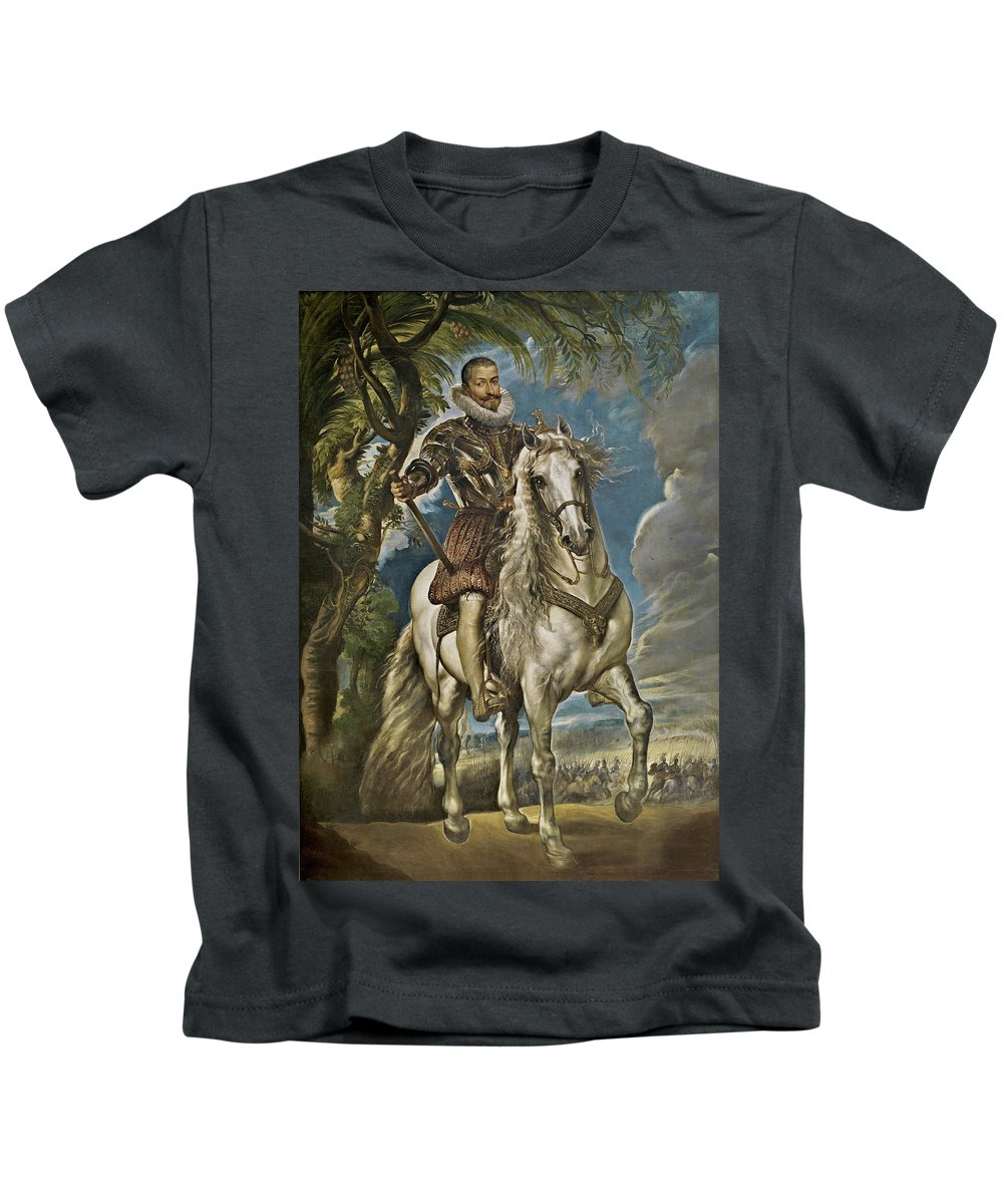 Armor Kids T-Shirt featuring the painting Equestrian Portrait Of The Duke Of Lerma by Peter Paul Rubens
