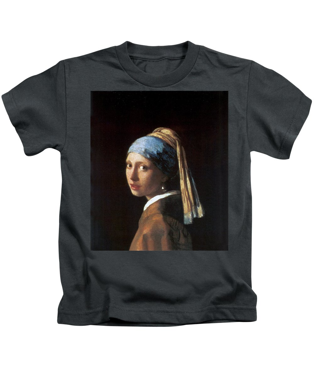 Jan Vermeer Kids T-Shirt featuring the photograph Girl With A Pearl Earring by Jan Vermeer