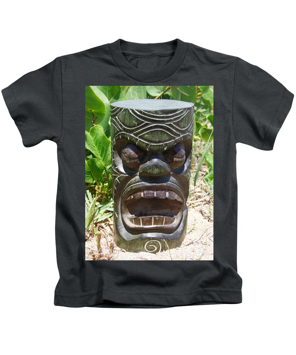 Mary Deal Kids T-Shirt featuring the photograph Hawaiian Tiki God Ku by Mary Deal