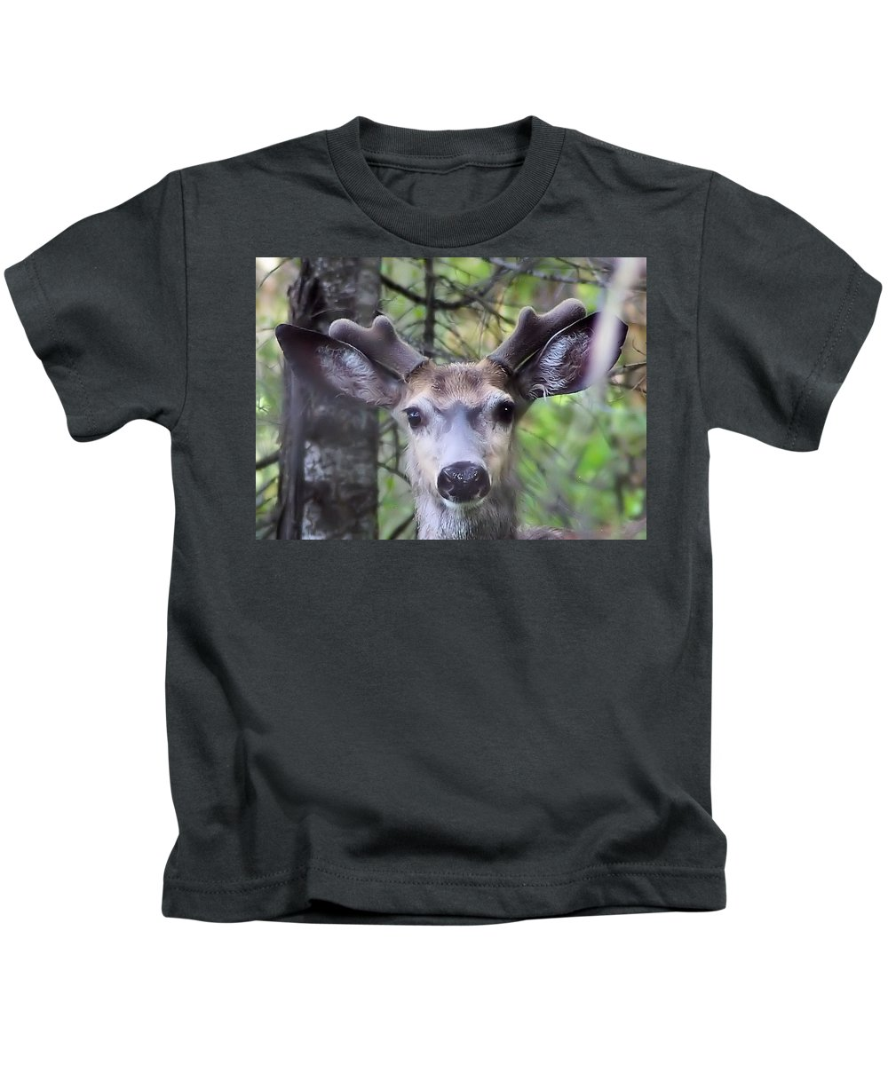 Wildlife Kids T-Shirt featuring the photograph Hello by Jeff Swan