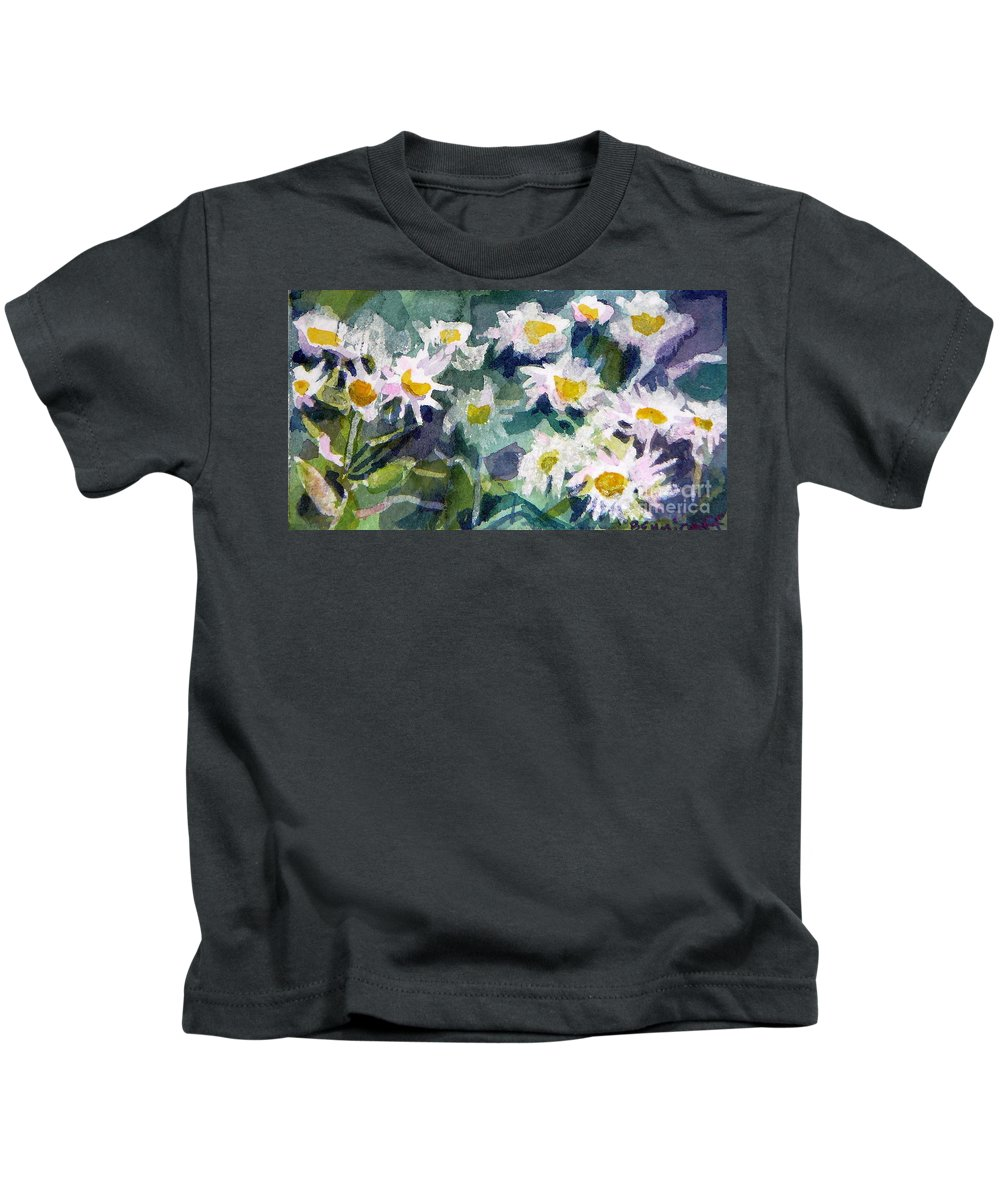 Flowers Kids T-Shirt featuring the painting Little Asters by Jan Bennicoff
