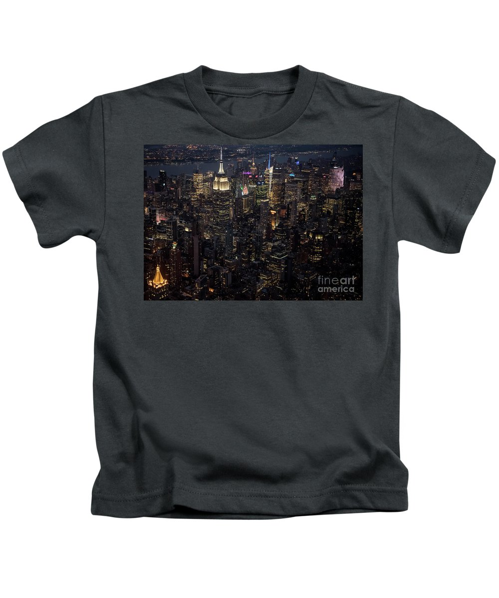 Midtown Kids T-Shirt featuring the photograph Midtown West Manhattan Skyline Aerial At Night by David Oppenheimer