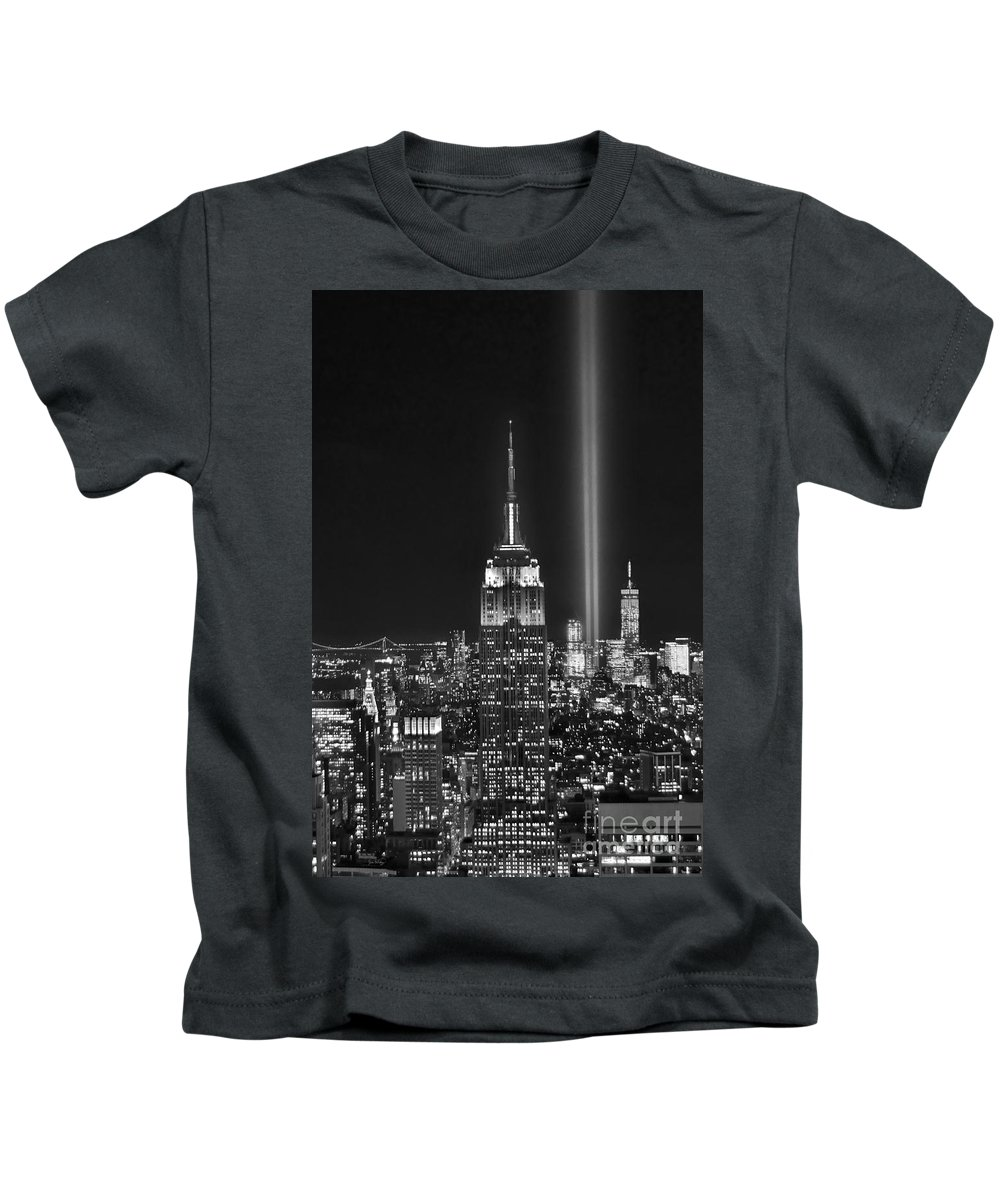 New York City Skyline At Night Kids T-Shirt featuring the photograph New York City Tribute In Lights Empire State Building Manhattan At Night Nyc by Jon Holiday