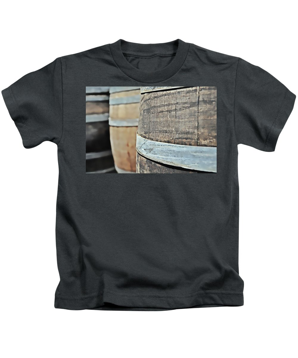 Ancient Kids T-Shirt featuring the photograph Oak Wine Barrel by Brandon Bourdages