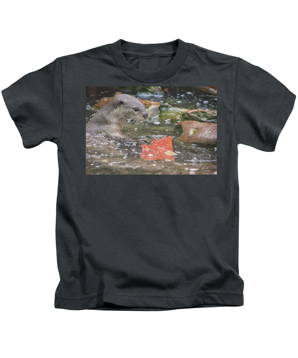 Otter Kids T-Shirt featuring the photograph Otter by Martin Newman