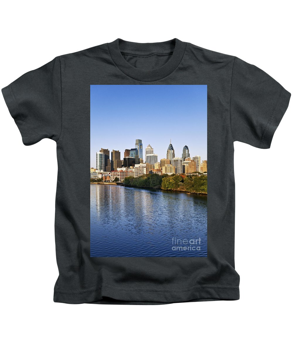 Pennsylvania Kids T-Shirt featuring the photograph Philadelphia Skyline by John Greim