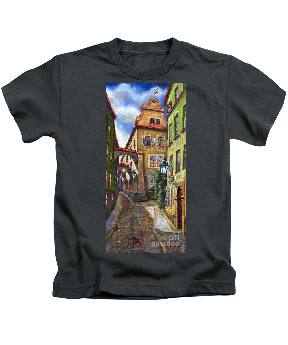 Prague Kids T-Shirt featuring the painting Prague Old Street by Yuriy Shevchuk