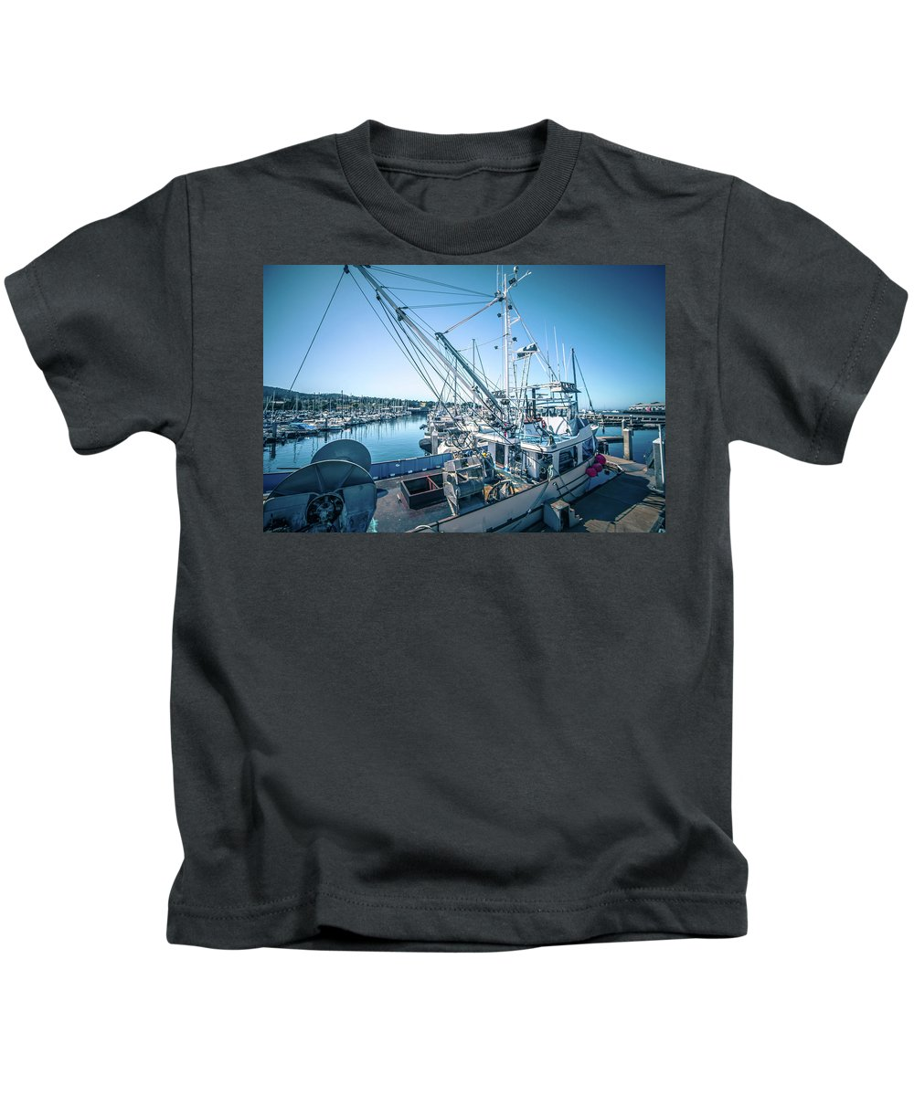 Boat Kids T-Shirt featuring the photograph Scenery Around Monterey Bay California In Spring by Alex Grichenko