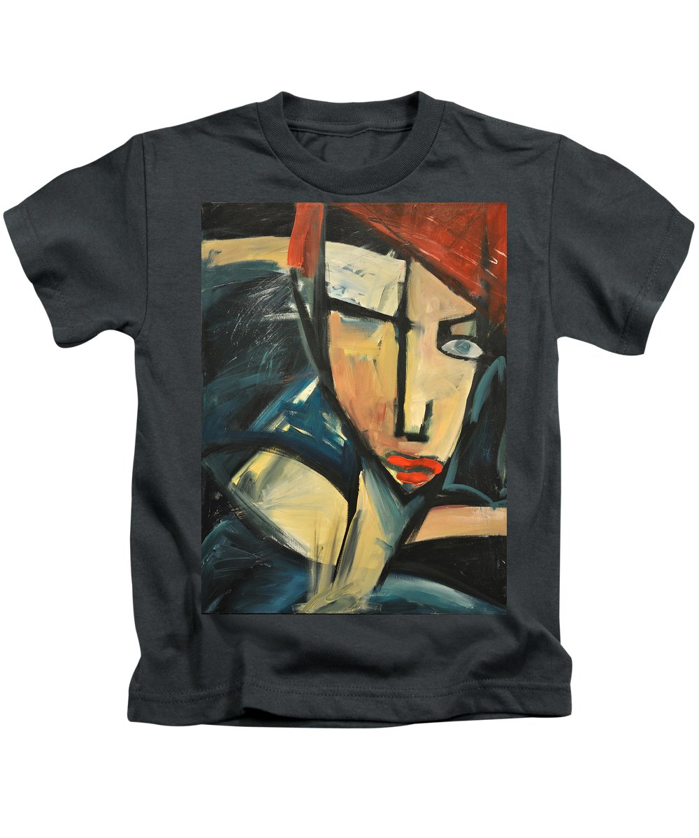 Woman Kids T-Shirt featuring the painting Simone by Tim Nyberg