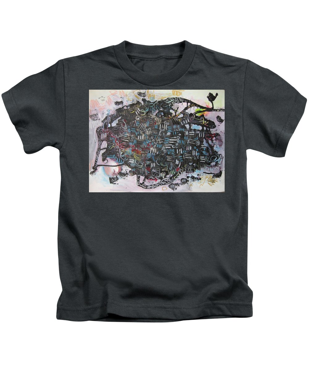 Abstract Kids T-Shirt featuring the painting Spring Fever6 by Seon-Jeong Kim