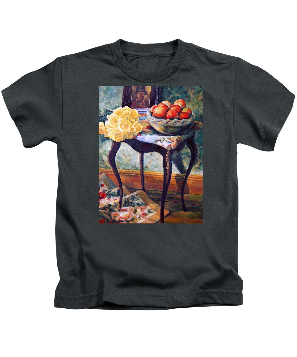Still Life Kids T-Shirt featuring the painting Still Life With Roses by Iliyan Bozhanov