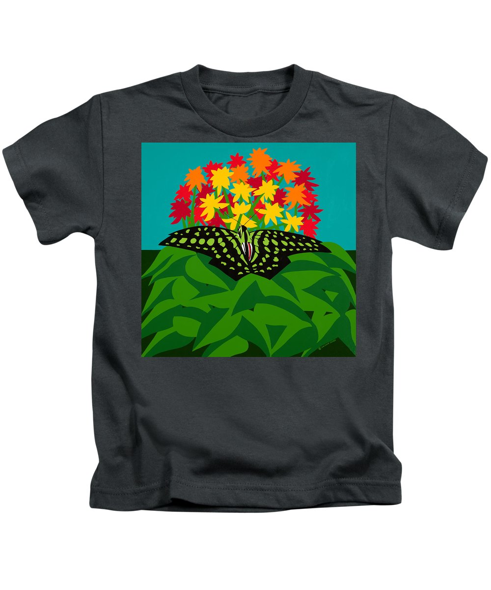 Butterflies Kids T-Shirt featuring the painting Tailed Jay by Synthia SAINT JAMES