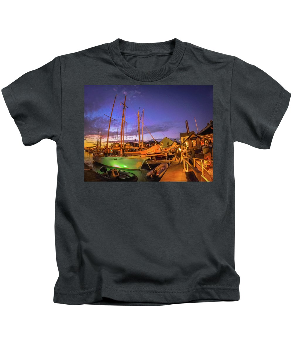 Skyline Kids T-Shirt featuring the photograph Tall Ships And Yahts Moored In Newport Harbor by Alex Grichenko