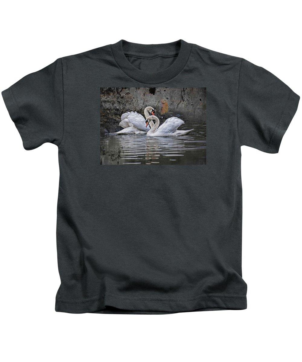 Swan Kids T-Shirt featuring the photograph Tango Of The Swans by Joachim G Pinkawa