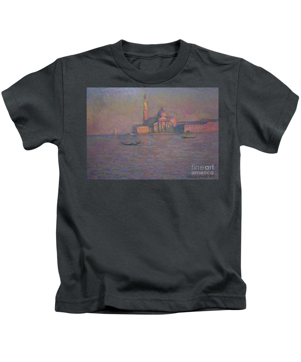 1908 Kids T-Shirt featuring the photograph The Church Of San Giorgio Maggiore, Venice by Claude Monet