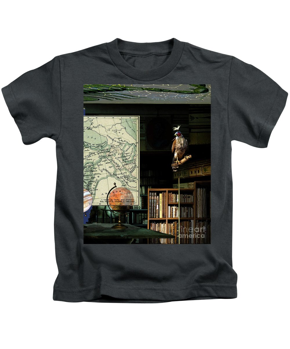 Astrologer Kids T-Shirt featuring the mixed media The Victorian Astronomer by Thomas Pollart