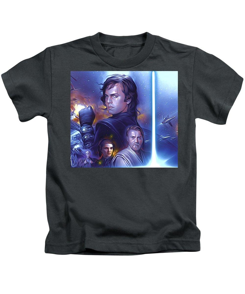 Star Wars Kids T-Shirt featuring the digital art Star Wars For Art by Larry Jones