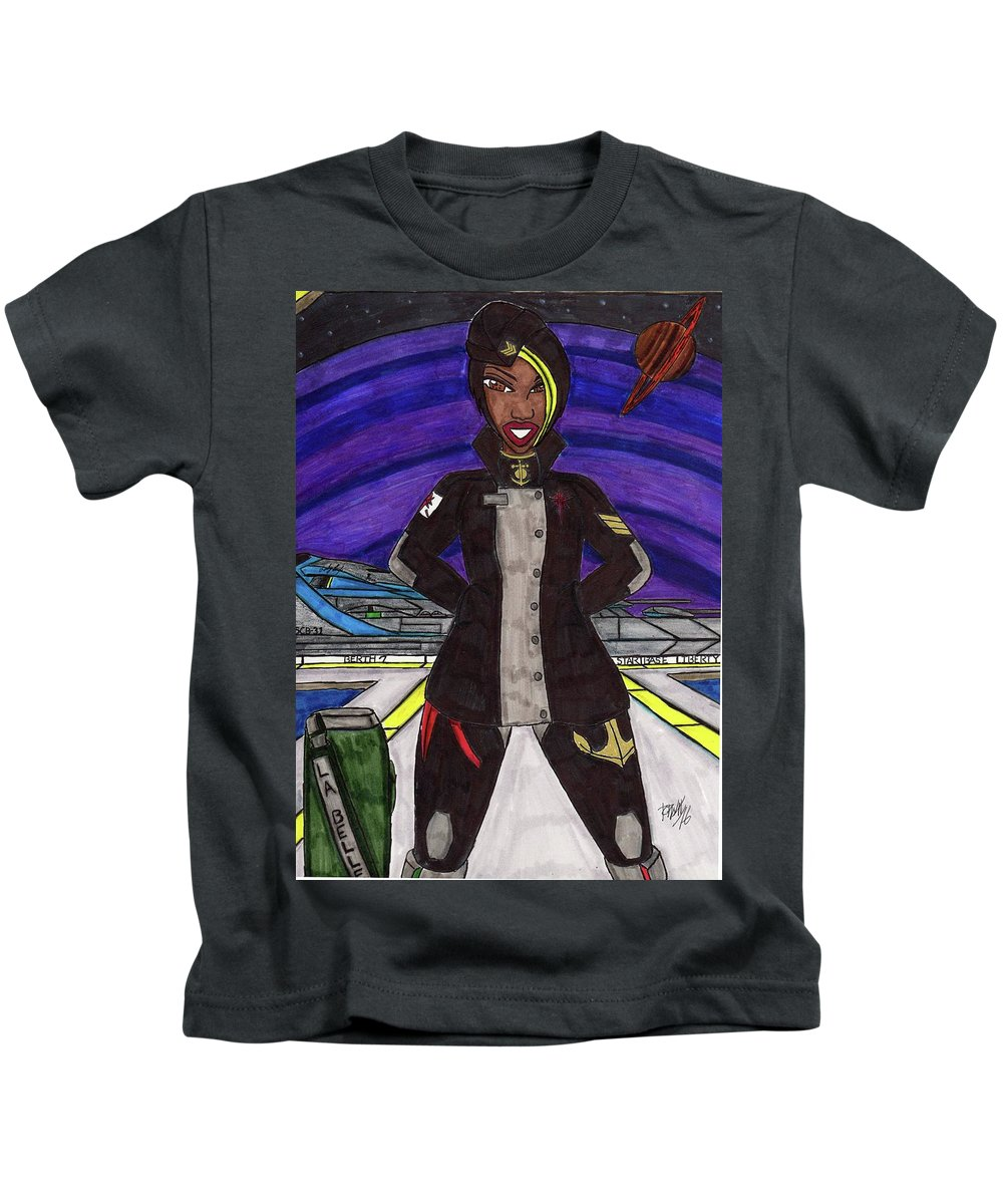 Original Character Kids T-Shirt featuring the mixed media 25th Century Sailor by Ronald Woods