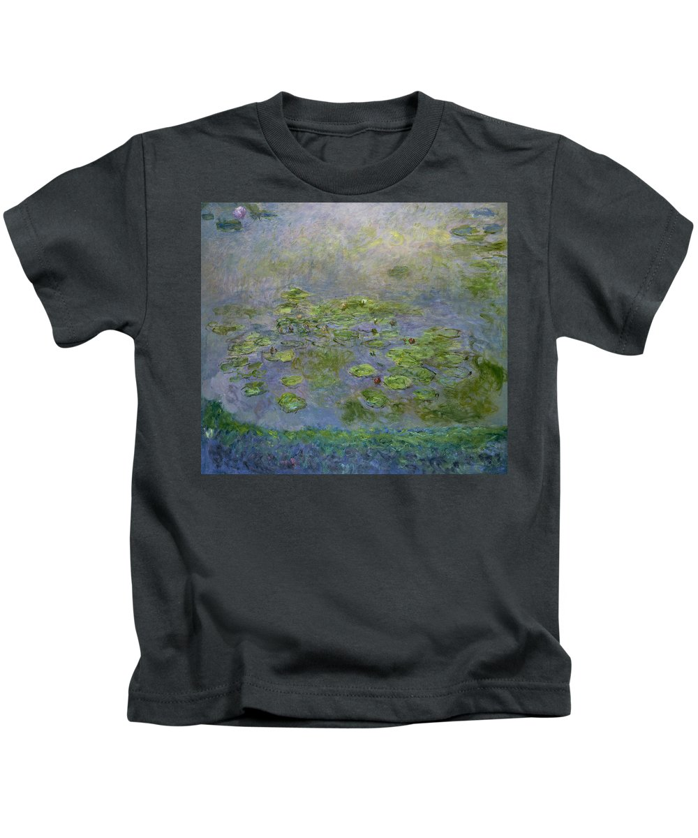Impressionism Kids T-Shirt featuring the painting Waterlilies by Claude Monet