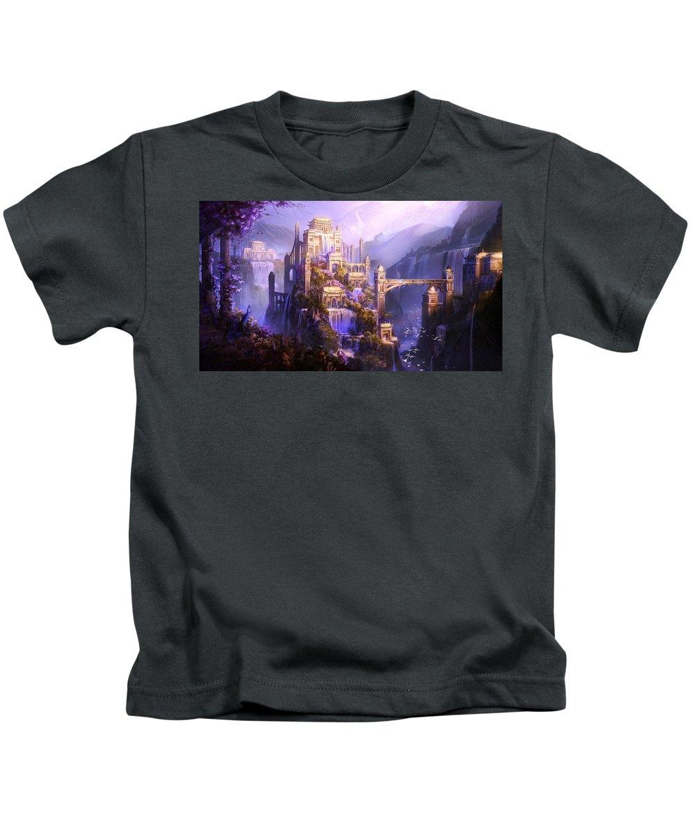 Castle Kids T-Shirt featuring the digital art Castle by Dorothy Binder