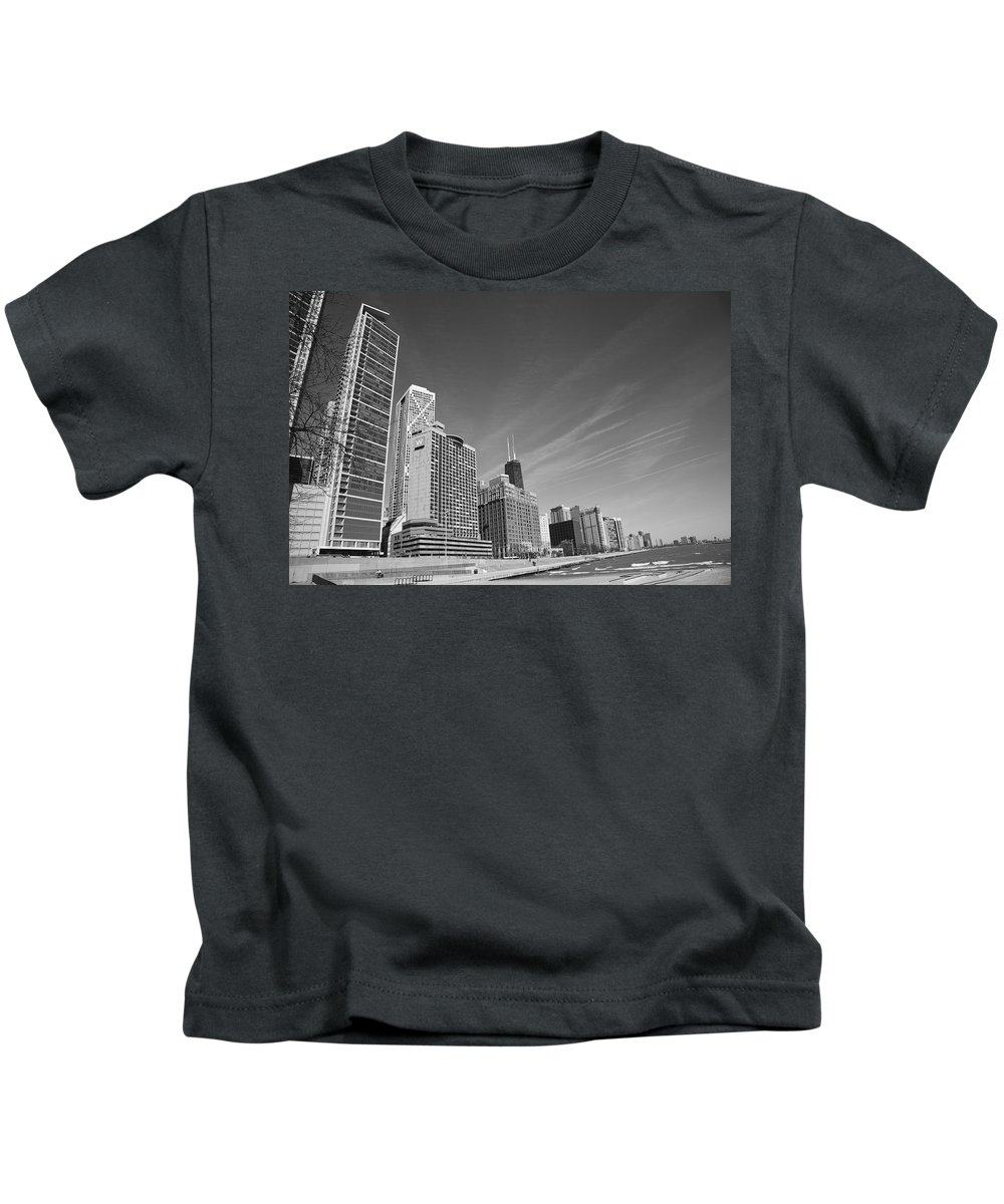 America Kids T-Shirt featuring the photograph Chicago Skyline And Beach by Frank Romeo
