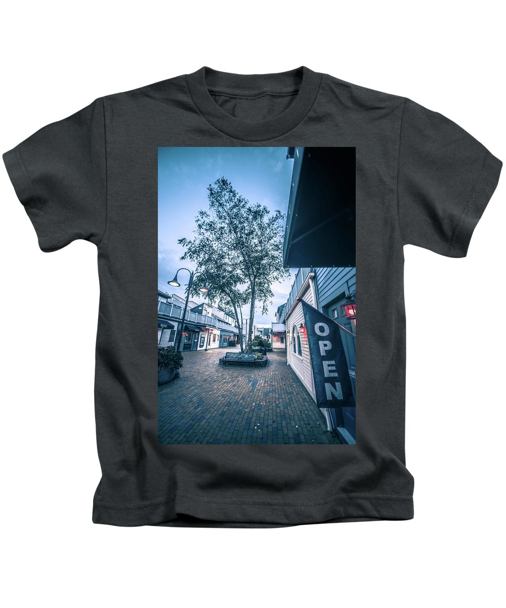Downtown Kids T-Shirt featuring the photograph Downtown Of Newport Rhode Island At Dusk Hours by Alex Grichenko