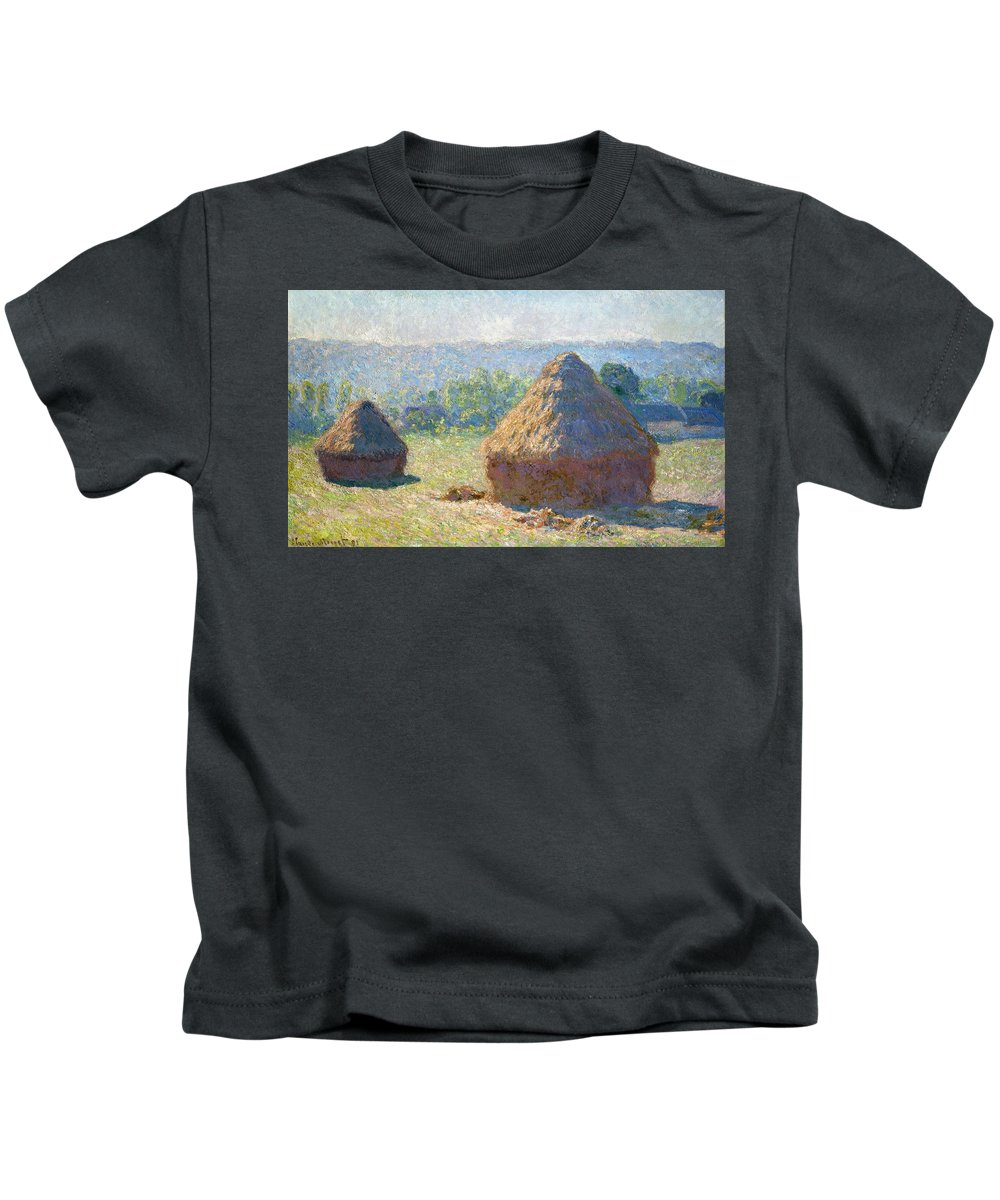 Claude Monet Kids T-Shirt featuring the painting Haystacks, End Of Summer by Claude Monet