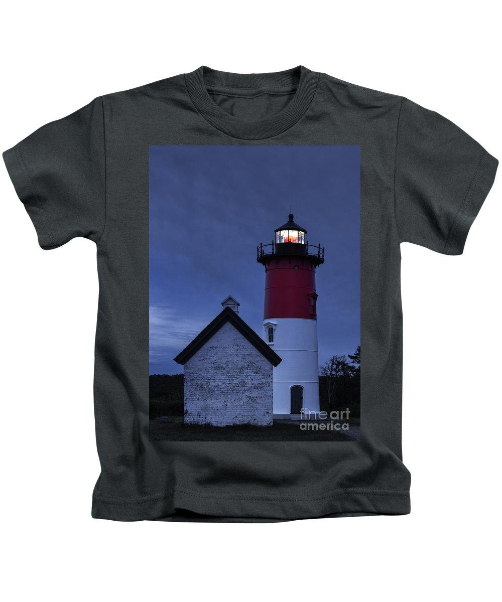 Cape Cod Kids T-Shirt featuring the photograph Nauset Lighthouse Dusk by John Greim