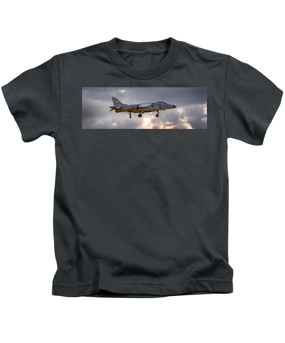 Royal Navy Kids T-Shirt featuring the photograph Royal Navy Sea Harrier by Chris Smith