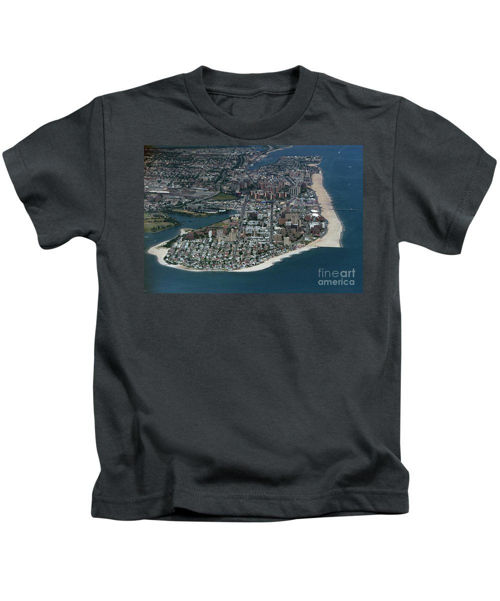 Seagate Kids T-Shirt featuring the photograph Seagate And Brighton Beach In Brooklyn Aerial Photo by David Oppenheimer