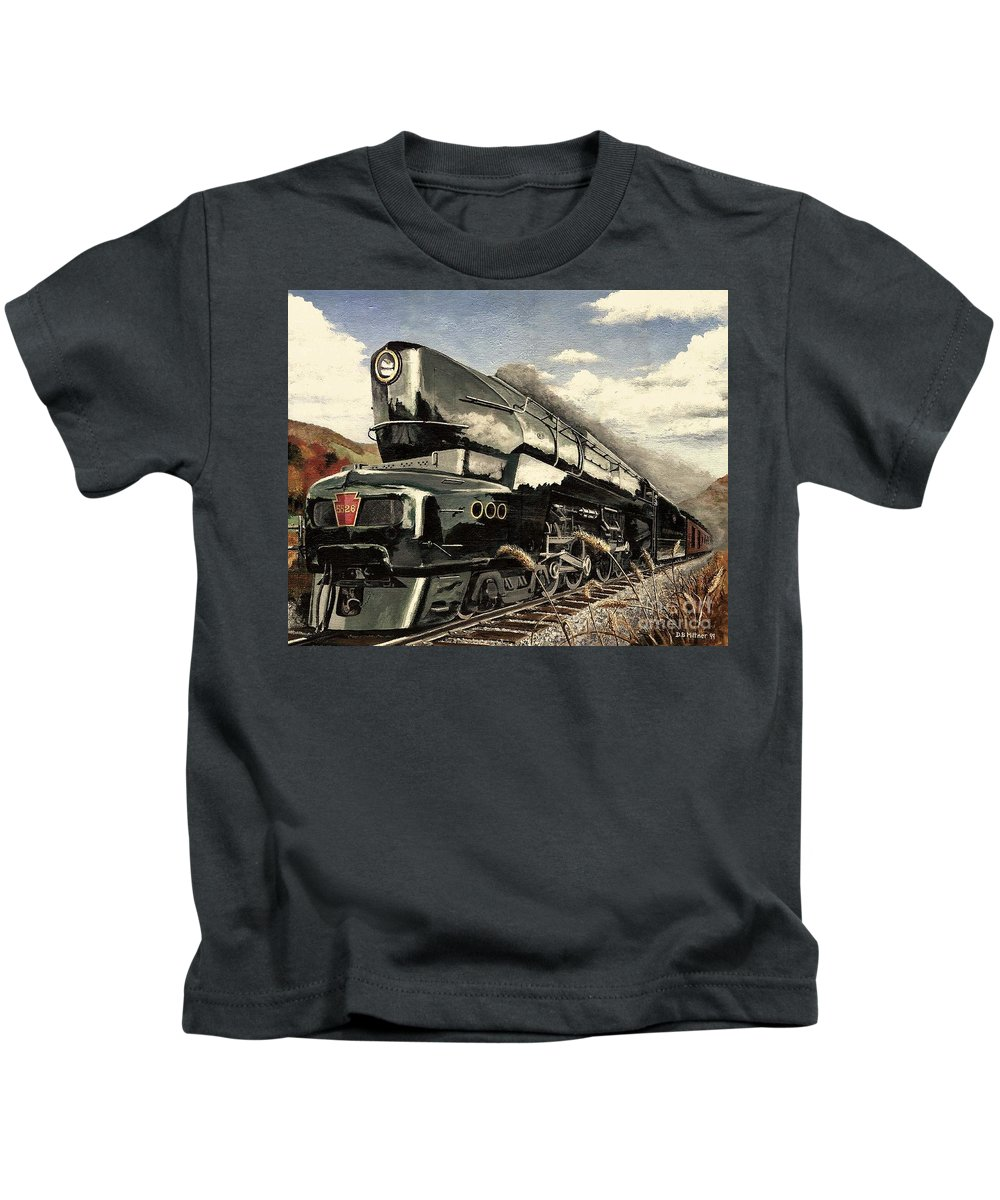 Pennsylvania Railroad Kids T-Shirt featuring the painting Showin Off by David Mittner