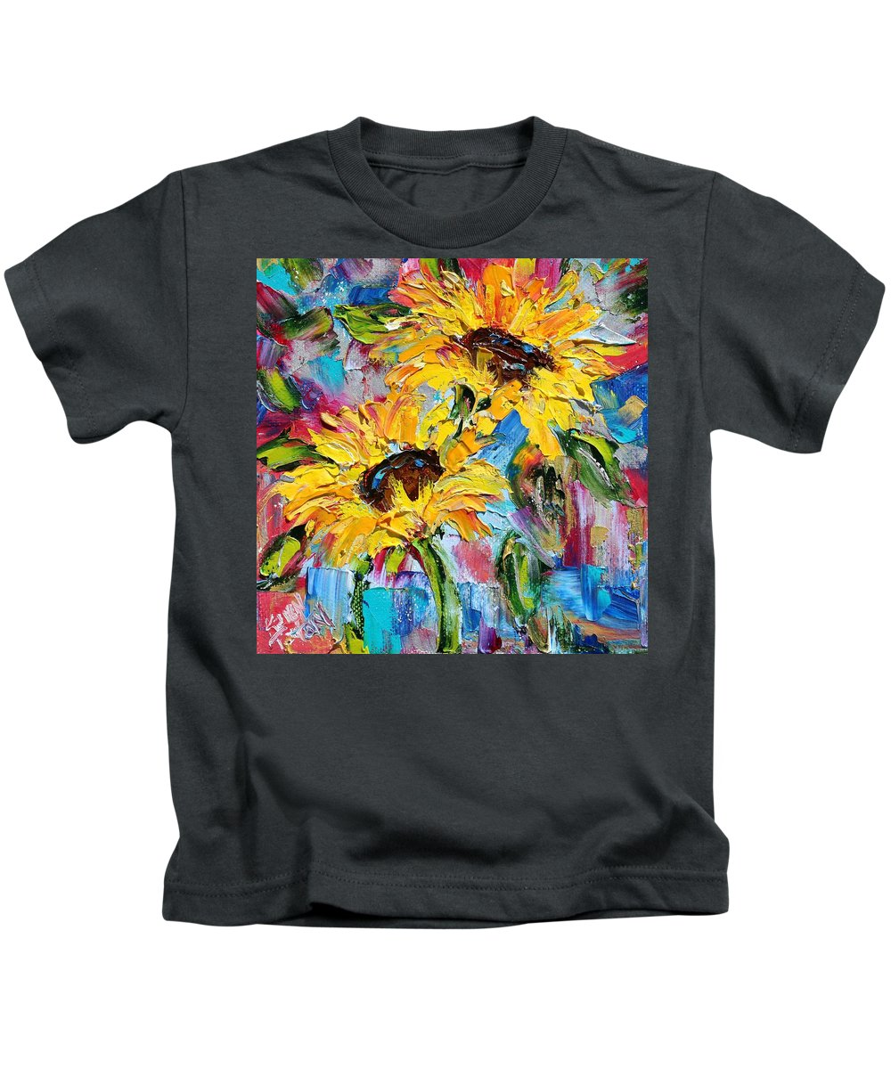 Sunflowers Kids T-Shirt featuring the painting Sunflower Joy by Karen Tarlton