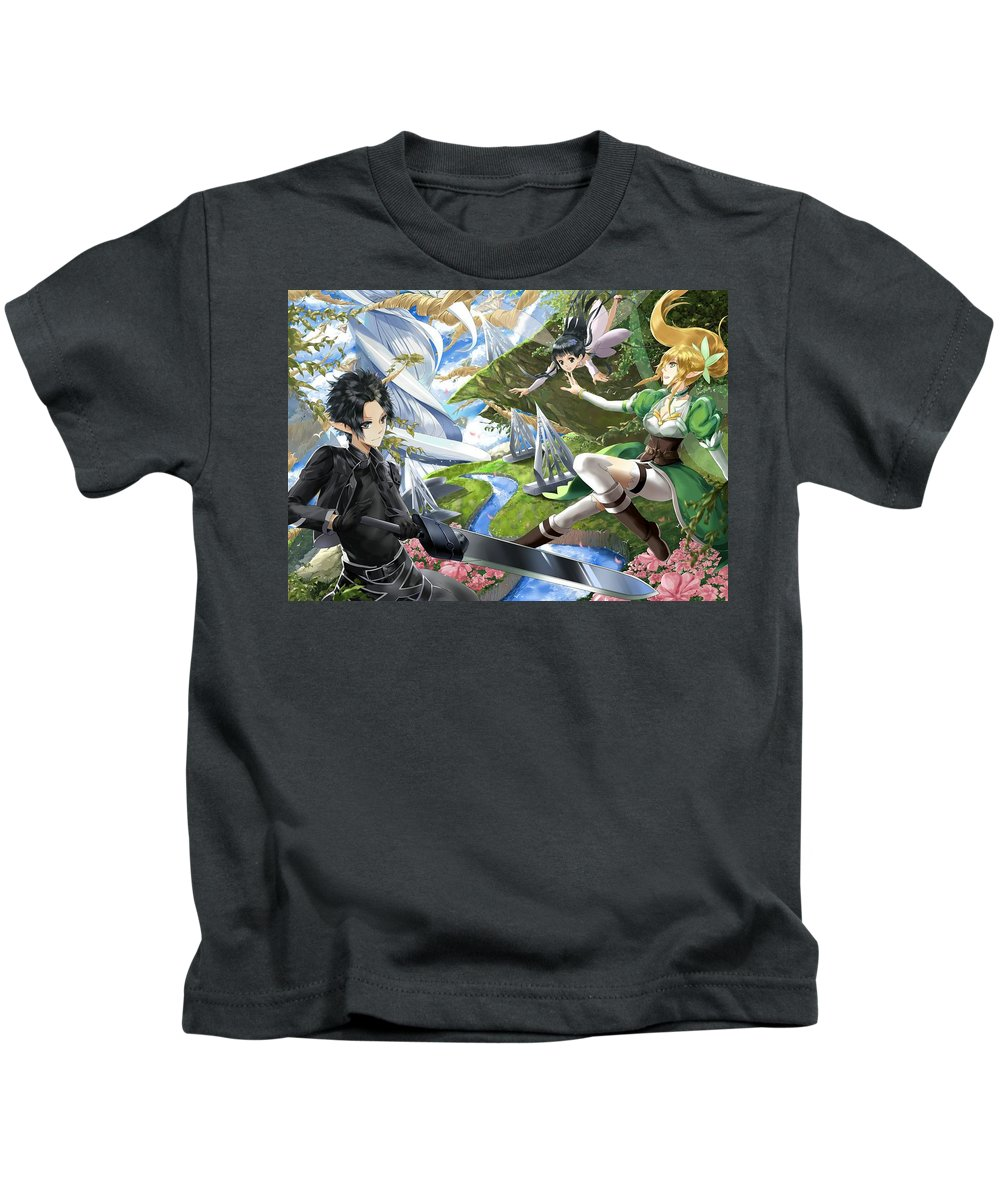 Sword Art Online Kids T-Shirt featuring the digital art Sword Art Online by Dorothy Binder