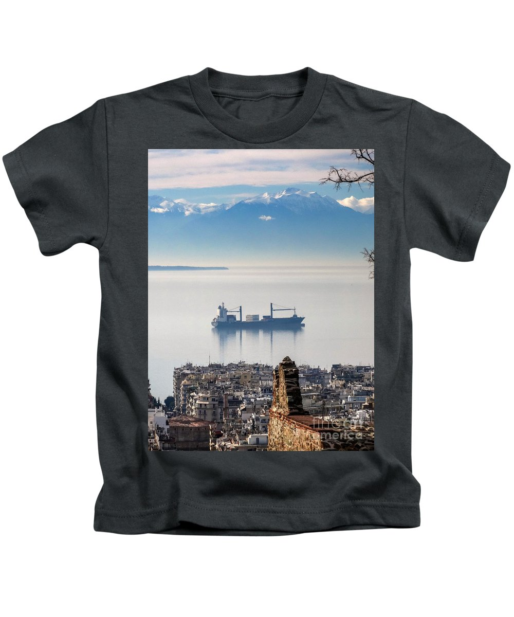 Thessaloniki Kids T-Shirt featuring the photograph Thessaloniki With View Of Olympus by George Papanas