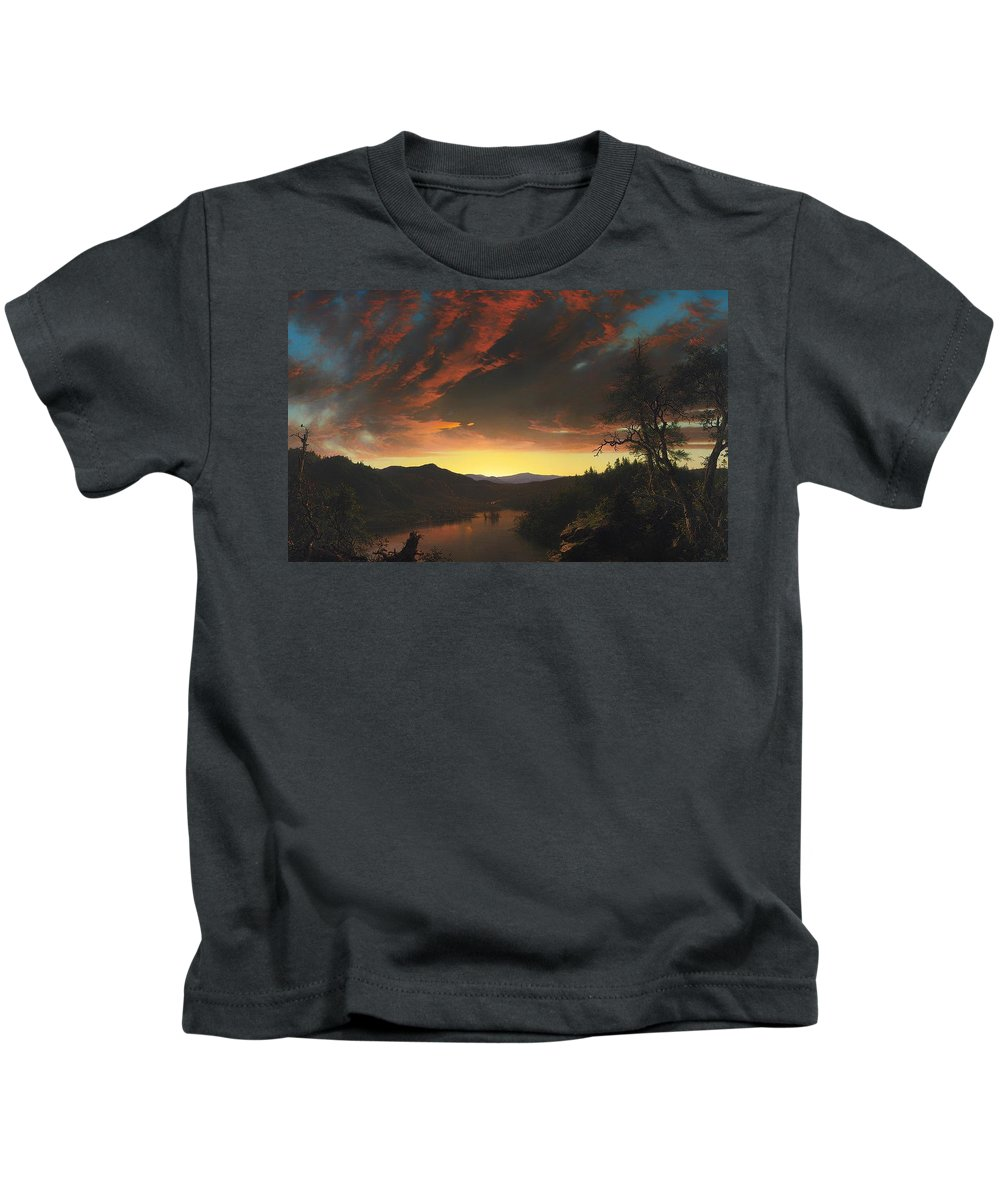 Painting Kids T-Shirt featuring the painting Twilight In The Wilderness by Mountain Dreams