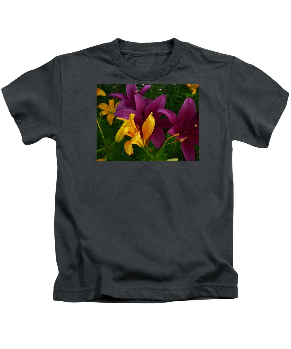 Flowers Gardens Idaho Photography Kids T-Shirt featuring the photograph Downtown Train by Paul Stanner